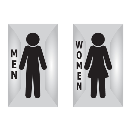 fitting: Toilet Sign, Fitting room sign flat icon illustration