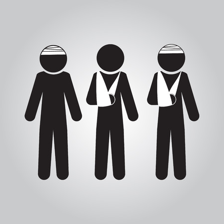 Injury man in bandage sign icon illustration 일러스트