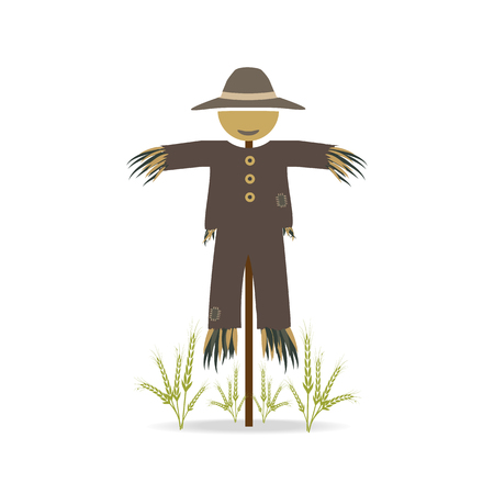 brown rice: Scarecrow and rice plant icon sign, illustration Illustration