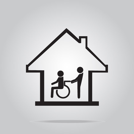 'nursing home': Disabled care, Nursing home sign icon, a man pushing wheelchair of man patient.