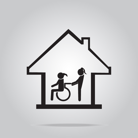 'nursing home': Disabled care, Nursing home sign icon, a woman pushing wheelchair of woman patient. Illustration