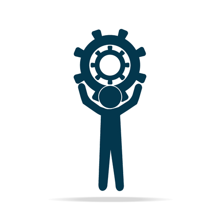 relaciones laborales: Man hold up gear icon sign  blue vector illustration, worker concept