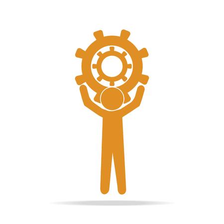 relaciones laborales: Man hold up gear icon, sign vector illustration, worker concept Vectores