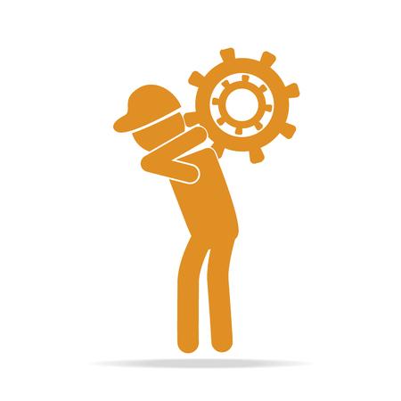 relaciones laborales: Man carrying with gear icon vector illustration
