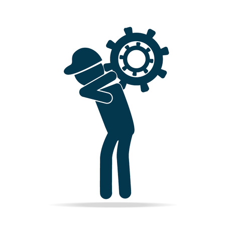 man carrying: Man carrying with gear icon vector illustration