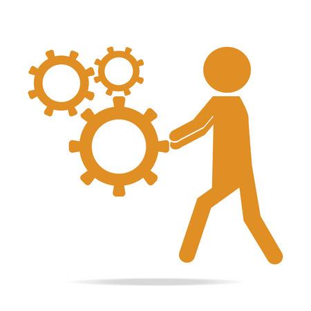 relaciones laborales: Hombre que empuja el icono de la rueda dentada, ilustración vectorial