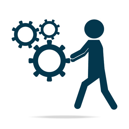 relaciones laborales: Hombre que empuja el icono de la rueda dentada, la ilustración vectorial de color azul marino
