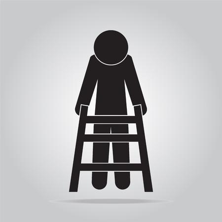 senile: Elderly man and walker sign, icon vector illustration
