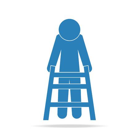 walker: Elderly man and walker sign, icon vector illustration