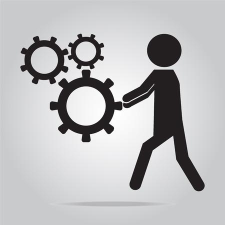 man pushing: Man pushing cog wheel icon, vector illustration