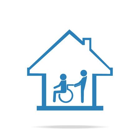 cuidado de personas de movilidad reducida, enfermería icono de signo de la casa, un hombre que empuja la silla de ruedas del paciente hombre.