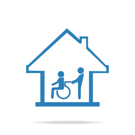 retirement home: Disabled care, Nursing home sign icon, a man pushing wheelchair of man patient.