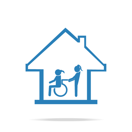 Disabled care, Nursing home sign icon, a woman pushing wheelchair of woman patient. Illustration