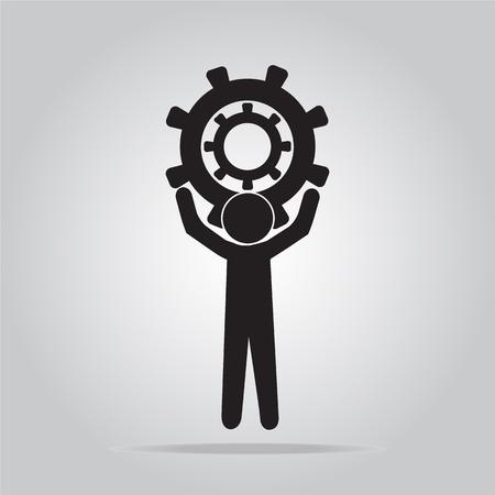 relaciones laborales: El hombre se sostiene icono de engranaje, firman ilustración vectorial, el concepto de trabajador
