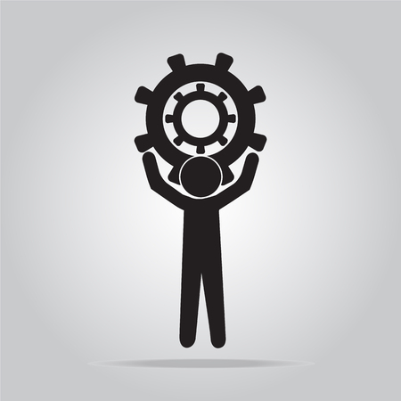 hold up: Man hold up gear icon, sign vector illustration, worker concept Illustration