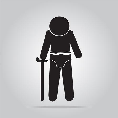 diaper: Elderly man and diaper icon vector illustration Illustration