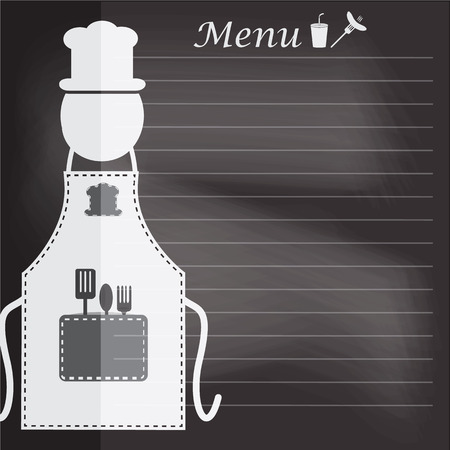 cooking book: Apron with menu on chalk board background cooking book page concept for background
