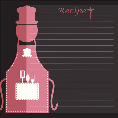 Apron with recipe paper, cooking book page concept for background