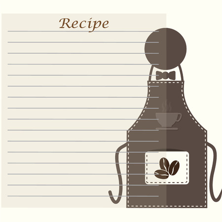 cooking book: Apron with recipe paper, cooking book page concept for background