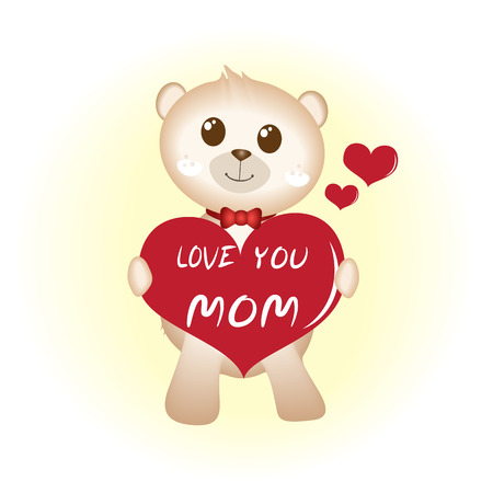 Teddy bear with red heart, Hapy mothers day