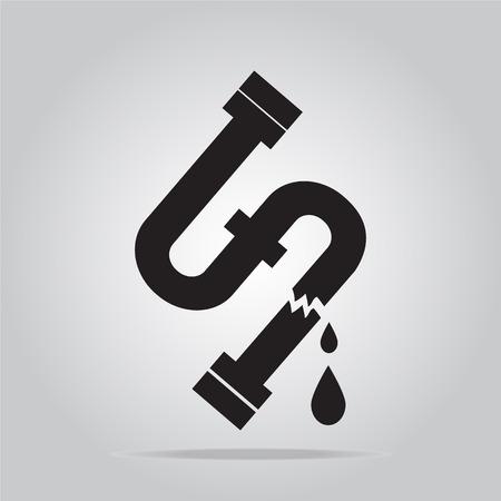 Eau icône de fuite, Tuyauterie icône signe illustration vectorielle