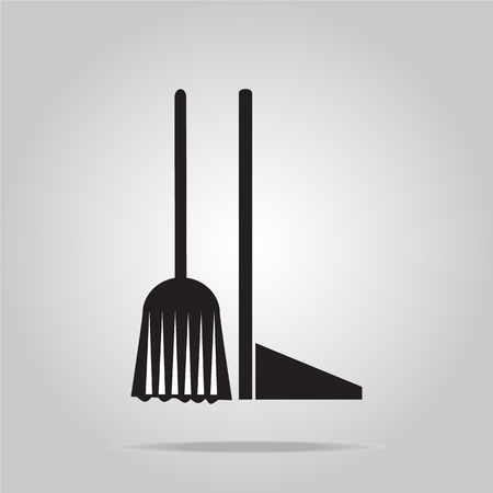 dustpan: Cleaning icon, Broom and Dustpan