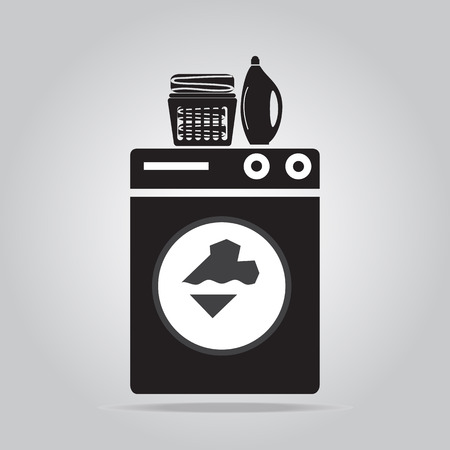 Laundry icon sign, Wahsing machine, detergents and fabric in basket Illustration