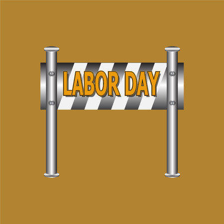 barricade: Labor day text on barricade sign illustration
