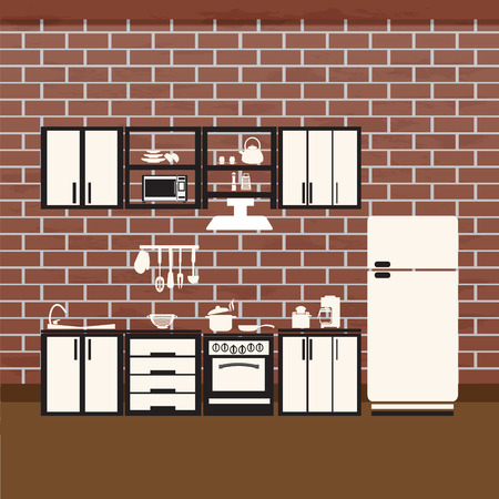 measuring spoon: Kitchen interior concept, cooking room vector illustration background