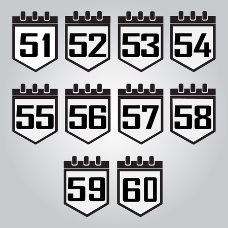 51: Calendar icon, number 51 to 60 vector illustration