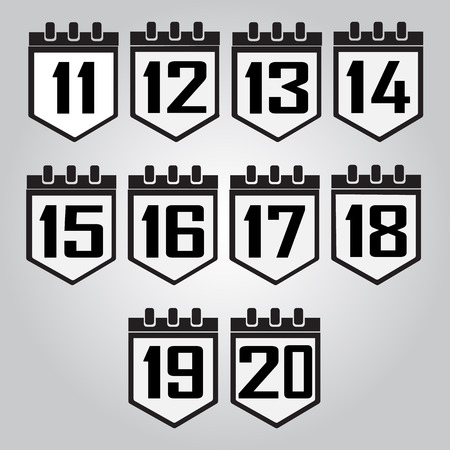 number 11: Calendar icon, number 11 to 20 vector illustration Illustration