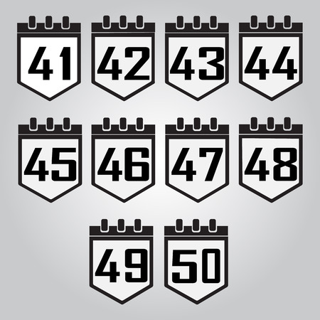 50 number: Calendar icon, number 41 to 50 vector illustration