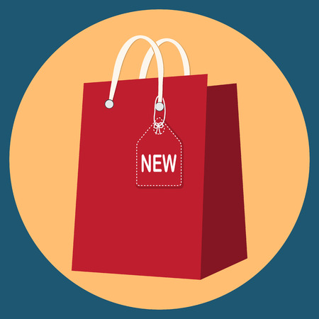 Shopping bag with New tag icon sign Illustration