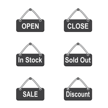 Set of icon signs with open and sale for online shop Illustration