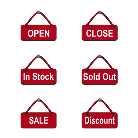 close out: Commerce shop icon. Open, Close, In Stock, Sold Out, Sale and Discount sign for online shop