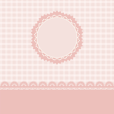 table scraps: Lace and stripes pink background vintage style, Greeting card, template or background Illustration