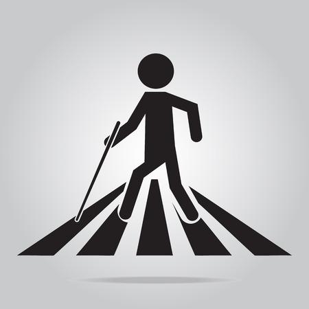 blind man: Blind man pedestrian crossing sign,vector illustration