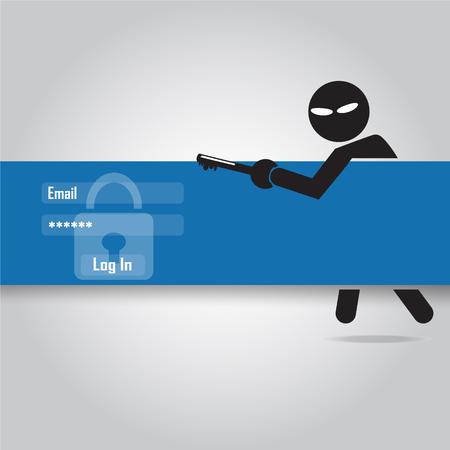 data theft: Hacker, Internet security concept. flat style vector illustration. Illustration