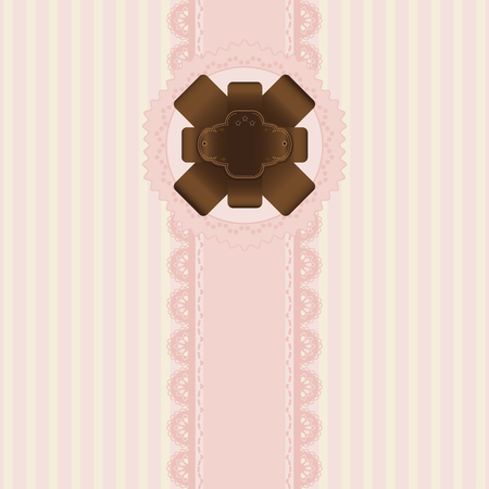 table scraps: Pink and chocolate label background vintage style, Greeting card, template or background