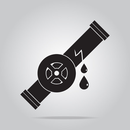 the leak: Water leak icon, Pipe and valve icon sign vector illustration