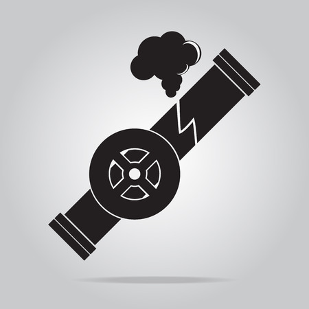 polution: Gas leak pipe icon. Polution Gas Pipe icon sign vector illustration