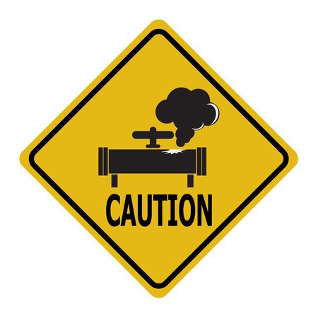 Gaslek waarschuwingsbord. Vervuiling Gas Pipe teken icon