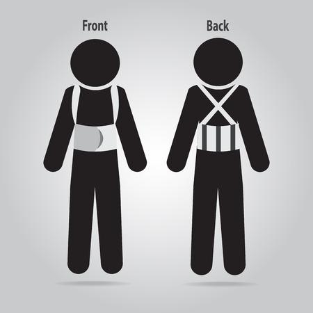 splint: Heridos en el icono de dolor de espalda. Férula para órtesis vertebral