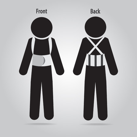 Injured of the back pain icon. Splint for spinal bracing