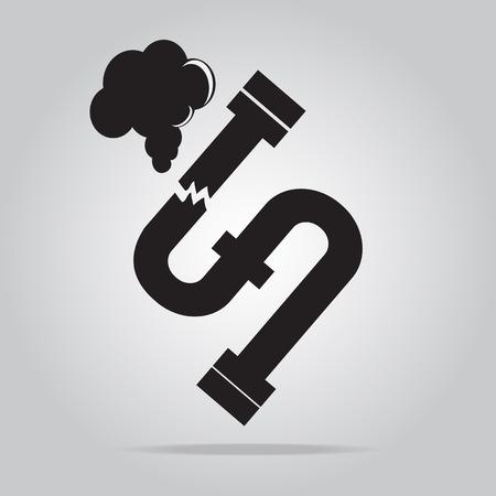 Gaslek pijp icoon. Verontreiniging Gas Pipe pictogram teken vector illustratie