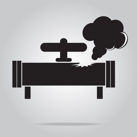 polution: Gas leak pipe icon. Pollution Gas Pipe icon sign vector illustration Illustration