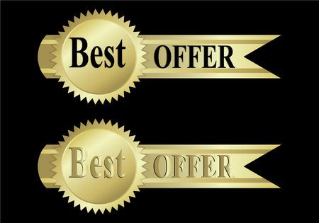 elegance: Gold label best offer sign elegance vector illustration