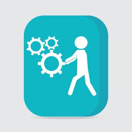 relaciones laborales: Hombre que empuja el icono de la rueda dentada, botón trabajador ilustración vectorial