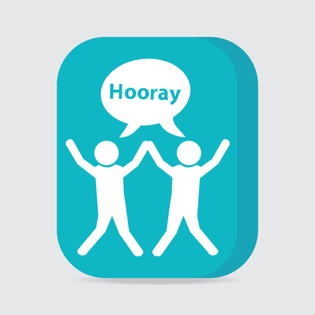 moody: People with hands up and happy motion, button vector illustration