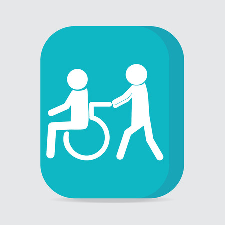 disabled access: Disabled icon, Disabled button , a man pushing wheelchair of man patient illustration